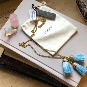 NWT J. Crew Gold and Blue Tassel Necklace